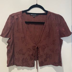 Brown tie top with flower design
